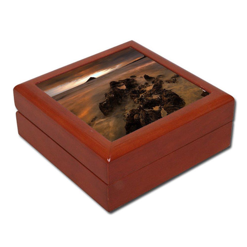 Pudełko drewniane brązowe z nadrukiem