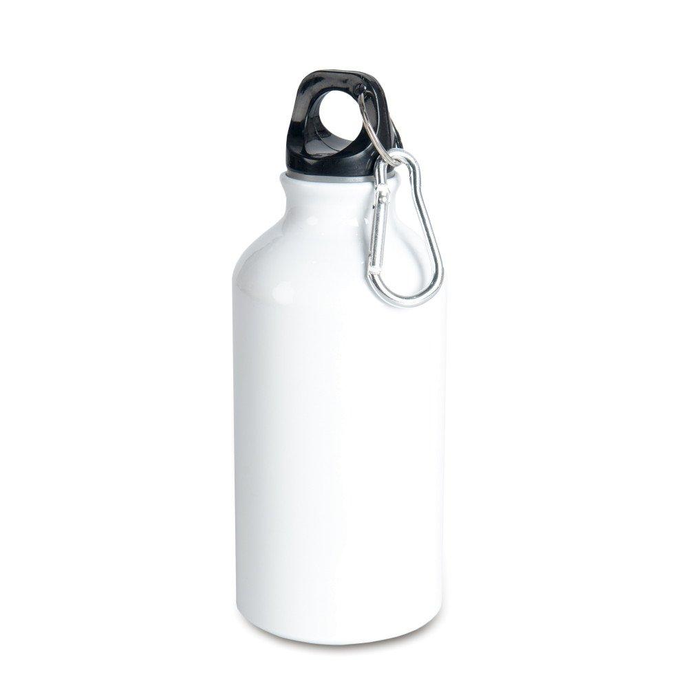 Aluminiowa butla 400 ml z karabińczykiem biała