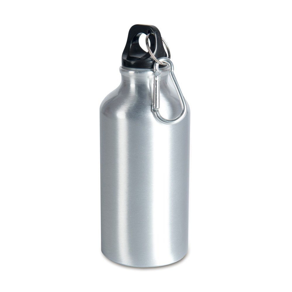 Aluminiowa butla 400 ml z karabińczykiem srebrna