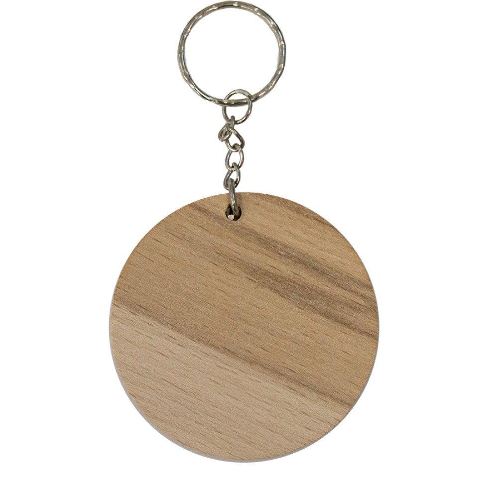 Brelok drewniany okrągły 6 cm grawerowany (pole nadruku średnica 4,5cm)