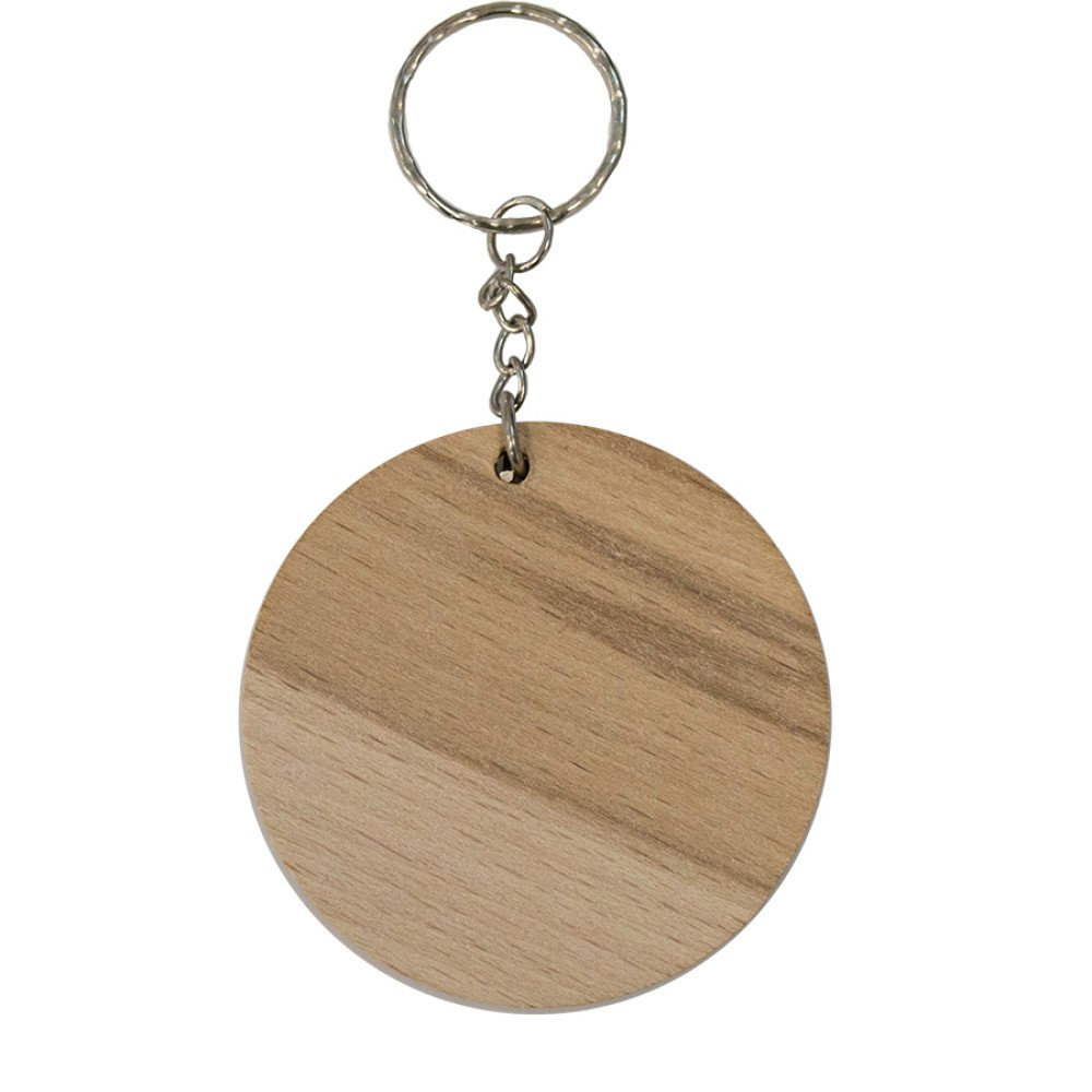 Brelok drewniany okrągły 4 cm grawerowany (pole nadruku 3x1cm)