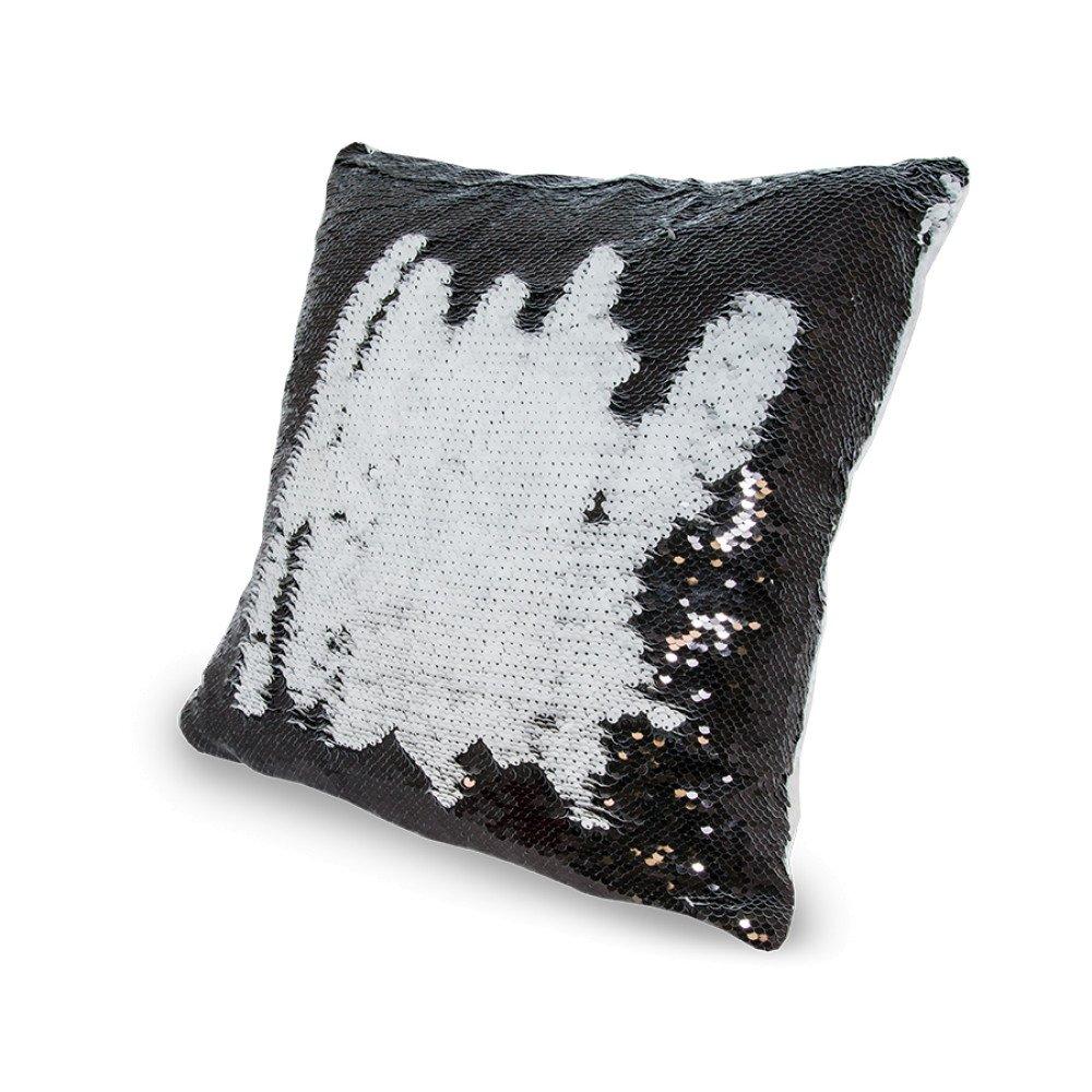 Poduszka z cekinami czarno-biała