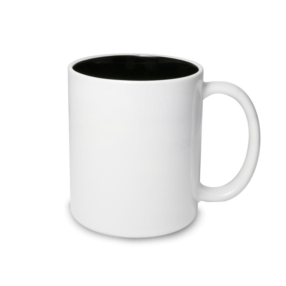 Kubek biały czarny środek - biała krawędź