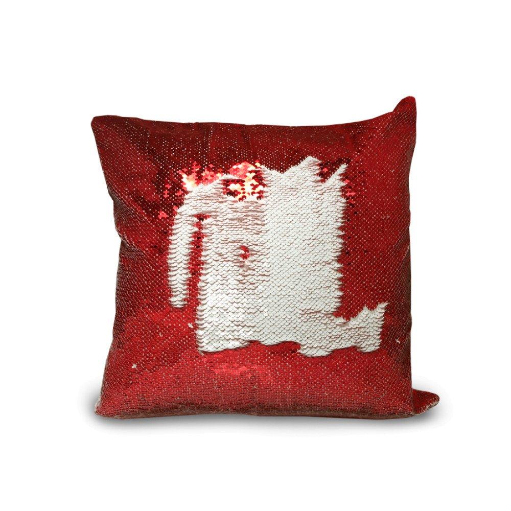 Poduszka z cekinami czerwono-biała