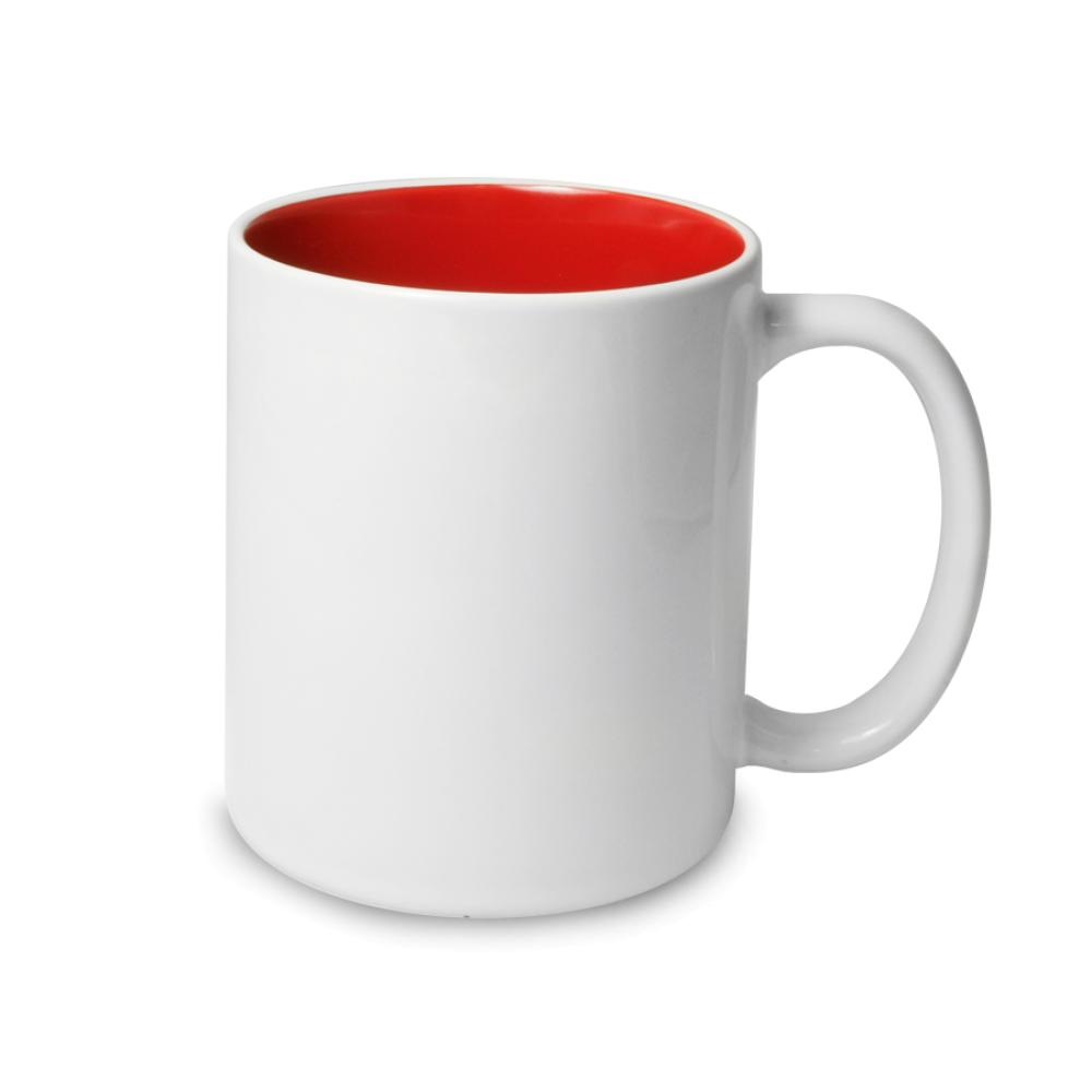 Kubek biały czerwony środek - biała krawędź