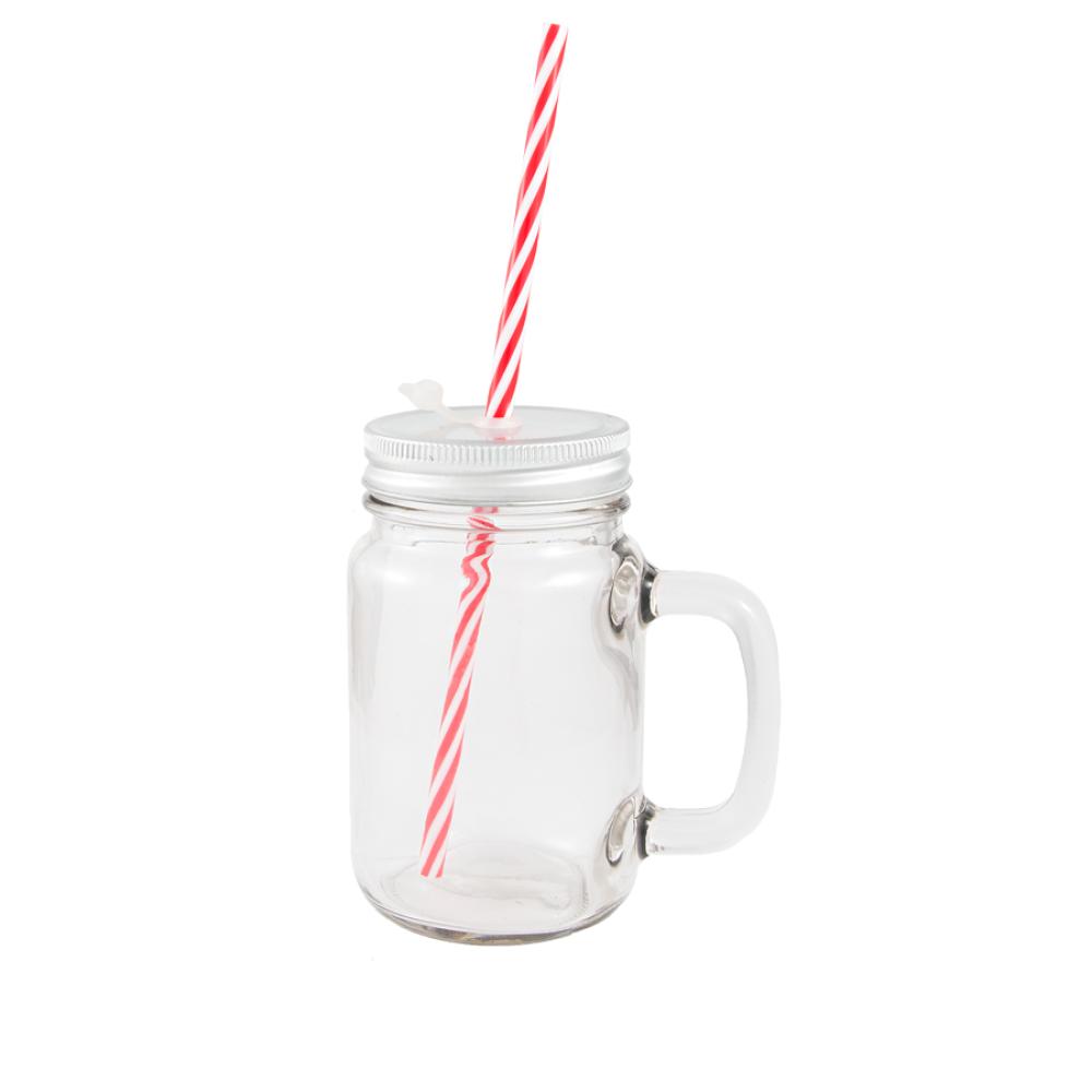 Kubek szklany słoik ze słomką z nadrukiem
