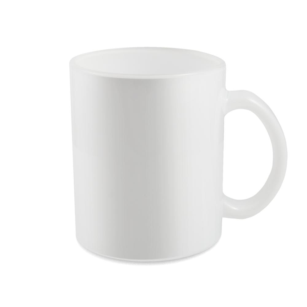 Kubek szklany biały z nadrukiem