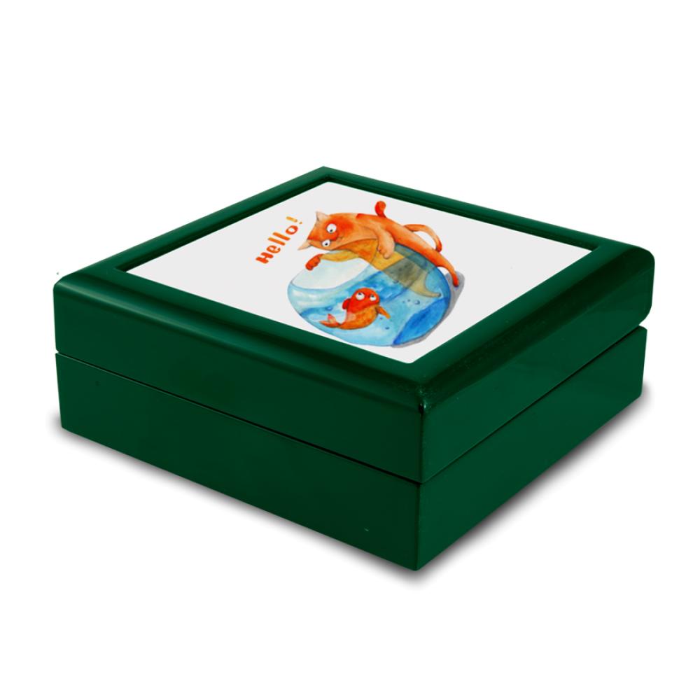 Pudełko drewniane zielone