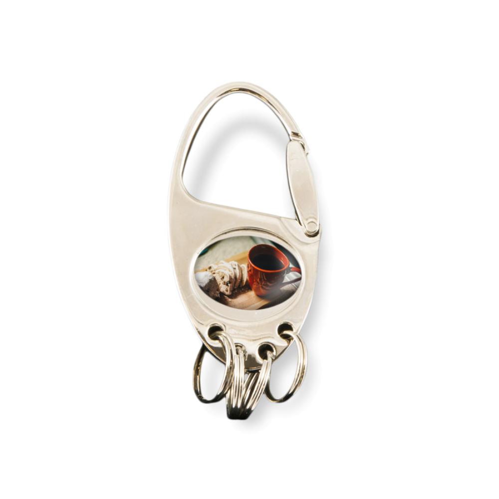 Brelok metalowy owalny z zapinkami