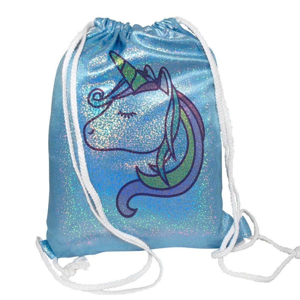Plecak- worek brokatowy błękitny