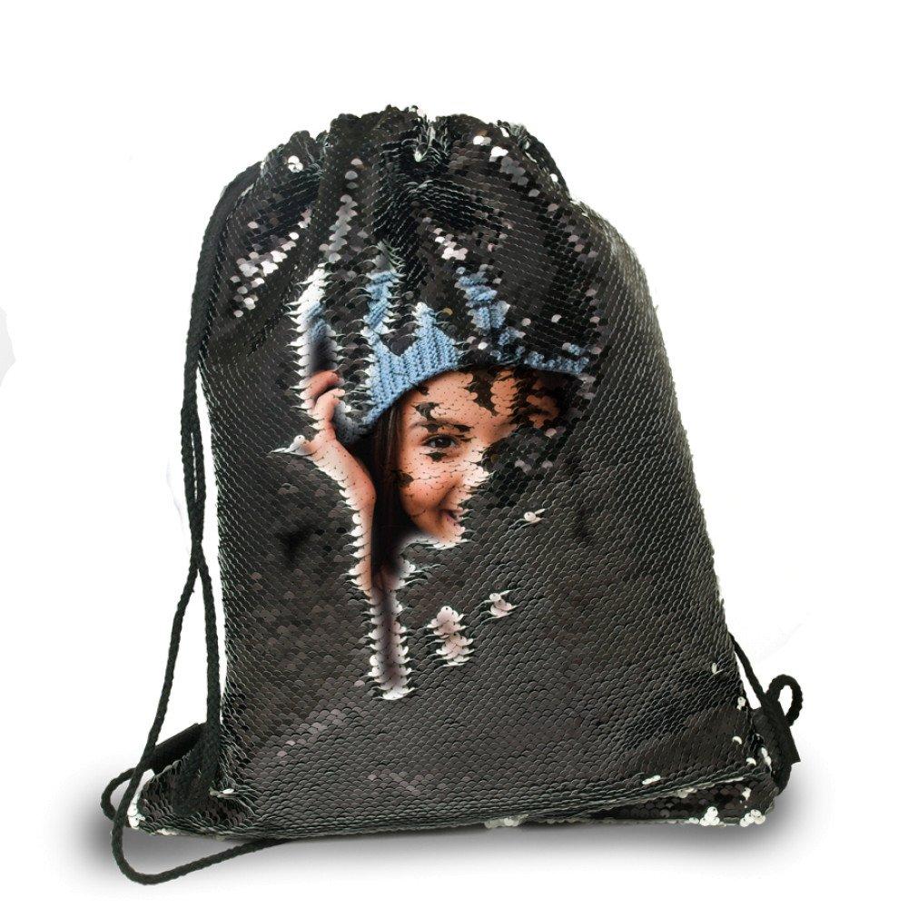 Plecak-worek z cekinami czarny