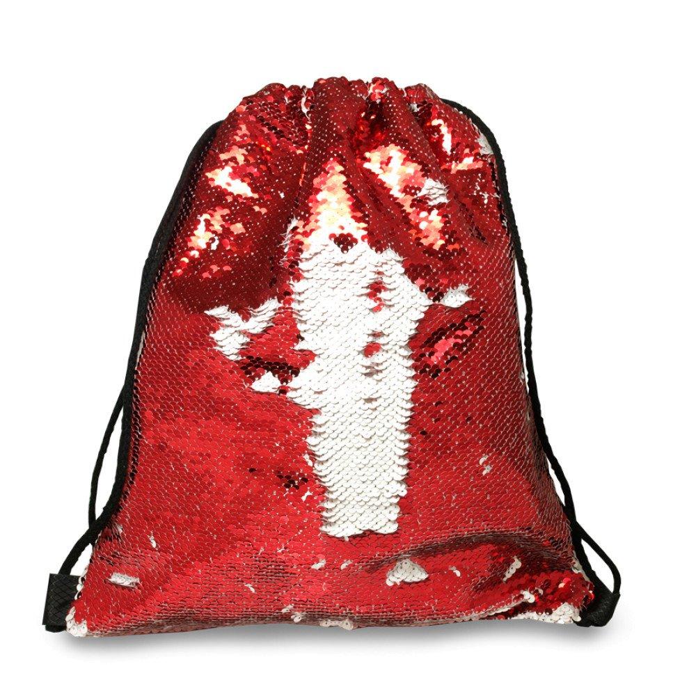 Plecak-worek z cekinami czerwony