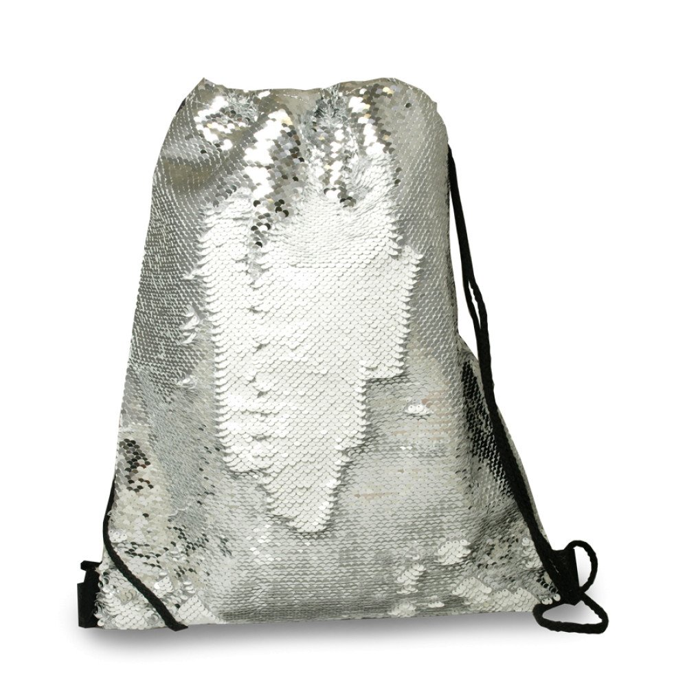 Plecak-worek z cekinami srebrny