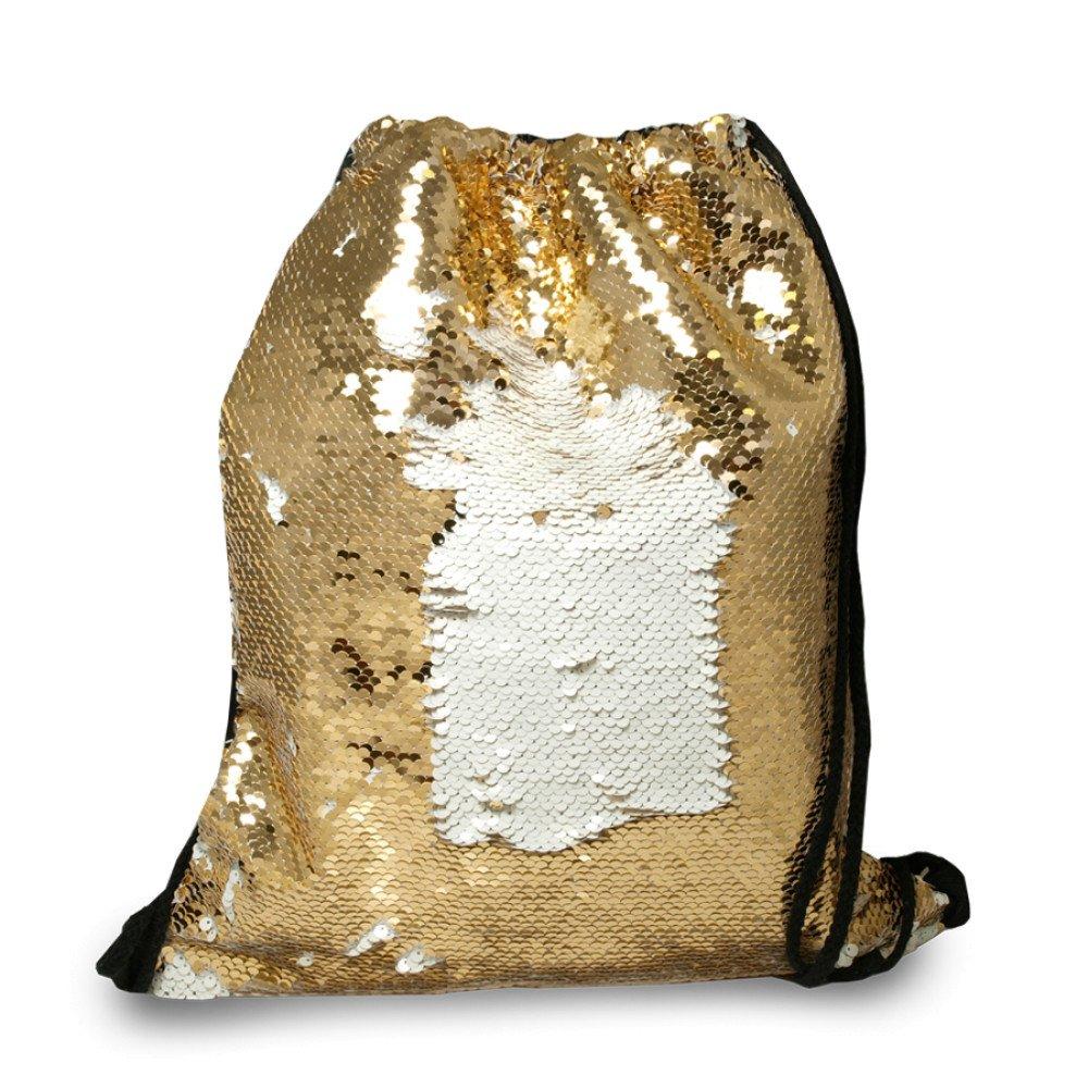 Plecak-worek z cekinami złoty