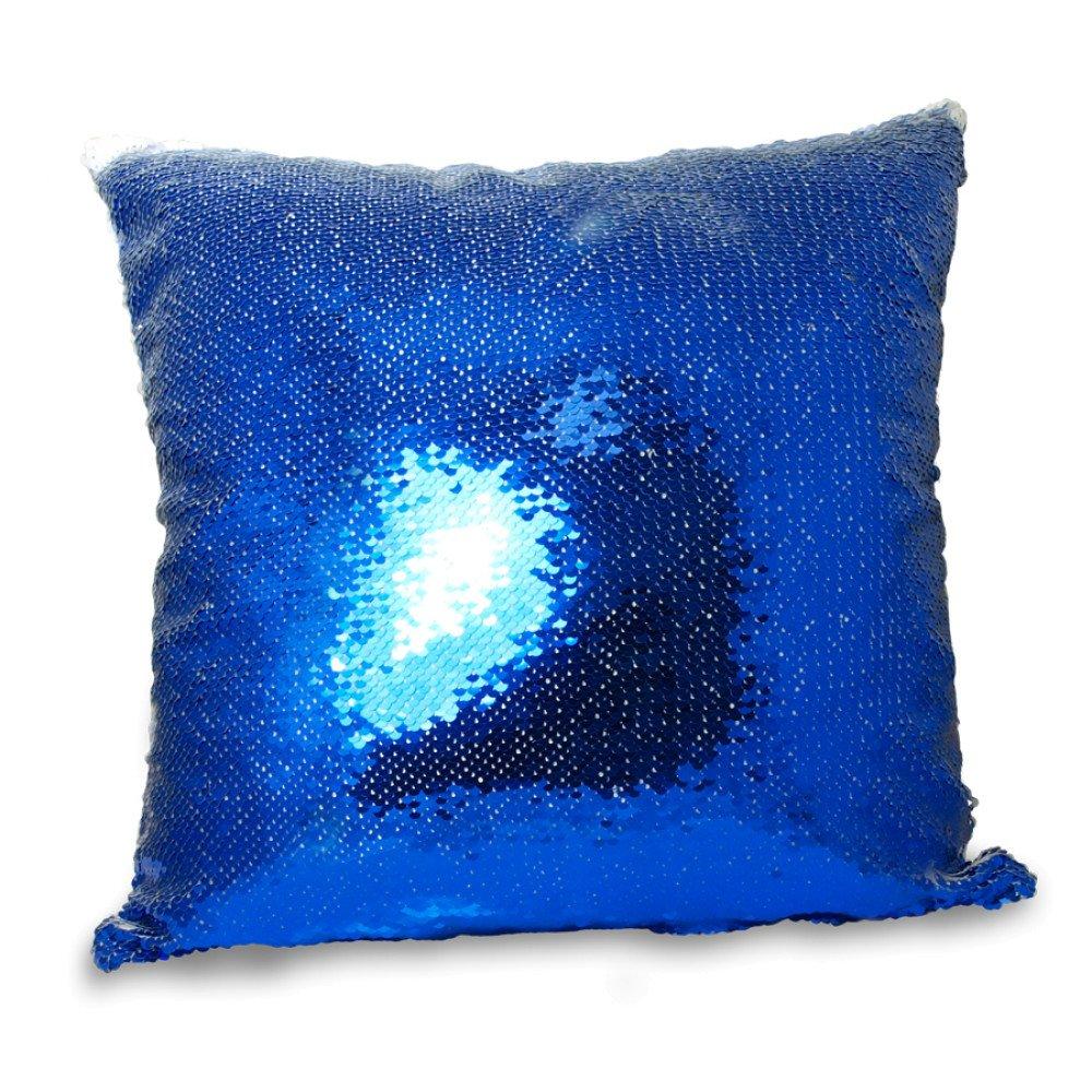 Poduszka z cekinami niebiesko-biała