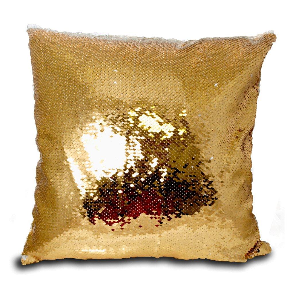 Poduszka z cekinami złoto-biała