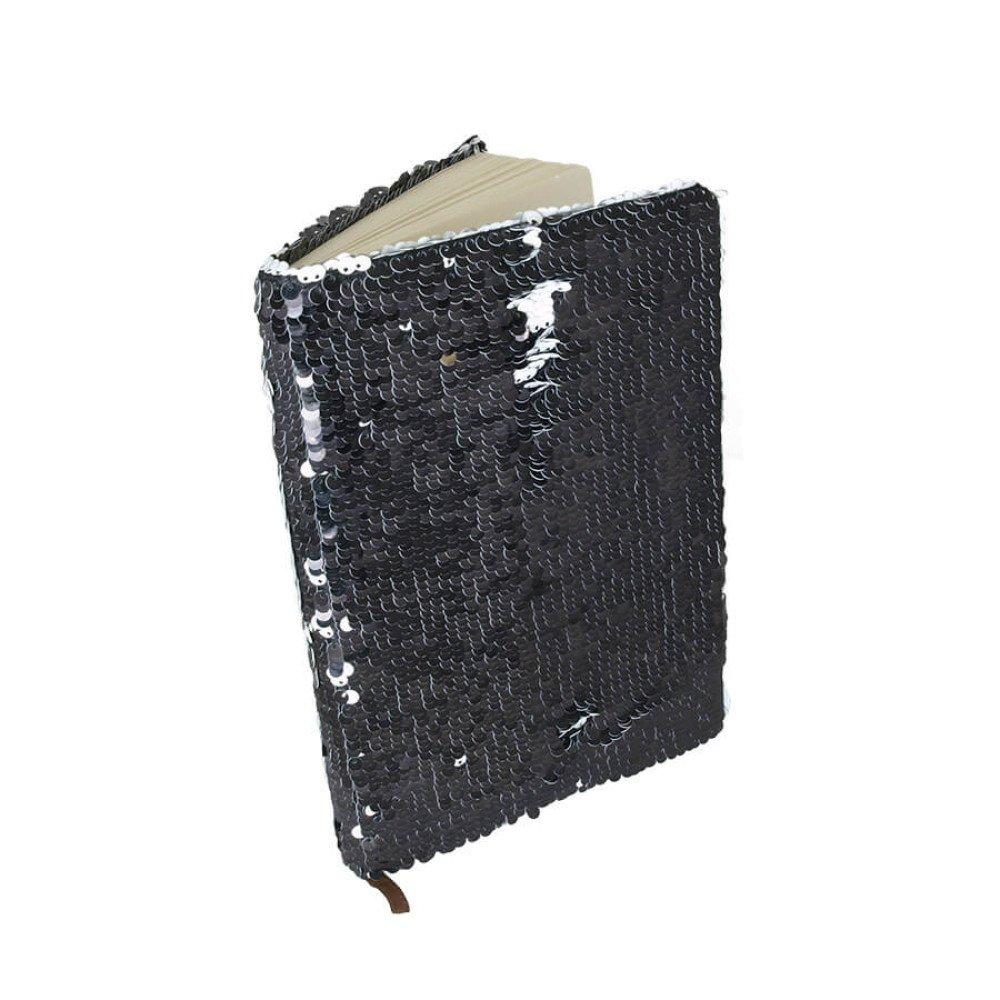 Notes z cekinami biały/czarny z nadrukiem