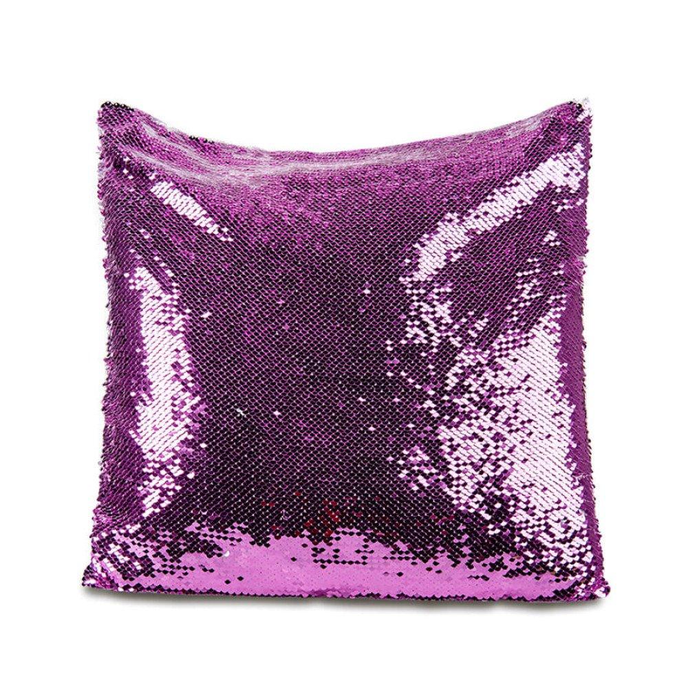 Poduszka z cekinami - purpurowy/biały