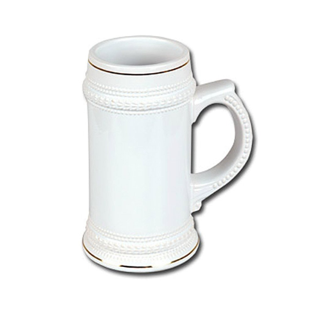 Kufel biały (złoty pasek) z nadrukiem