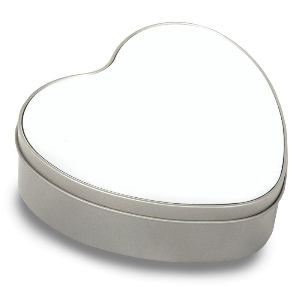 Pudełko metalowe serce z nadrukiem