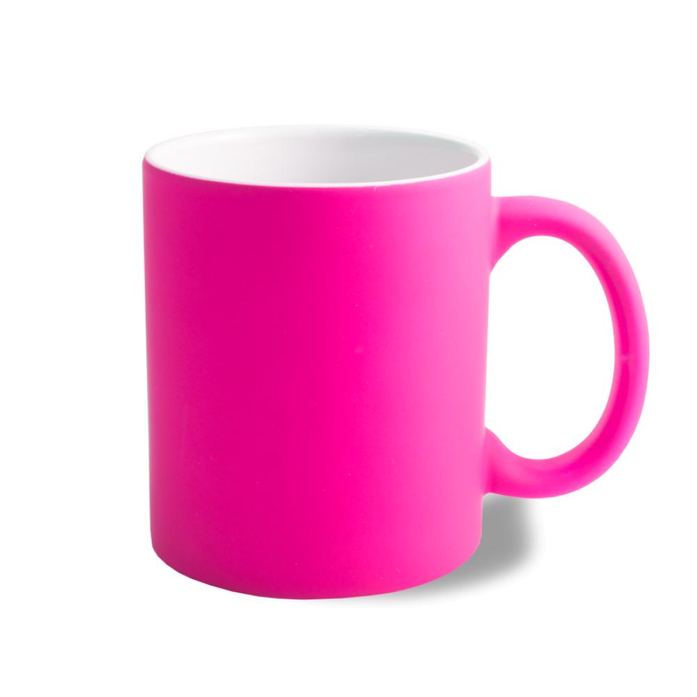 Kubek neonowy gumowany - różowy