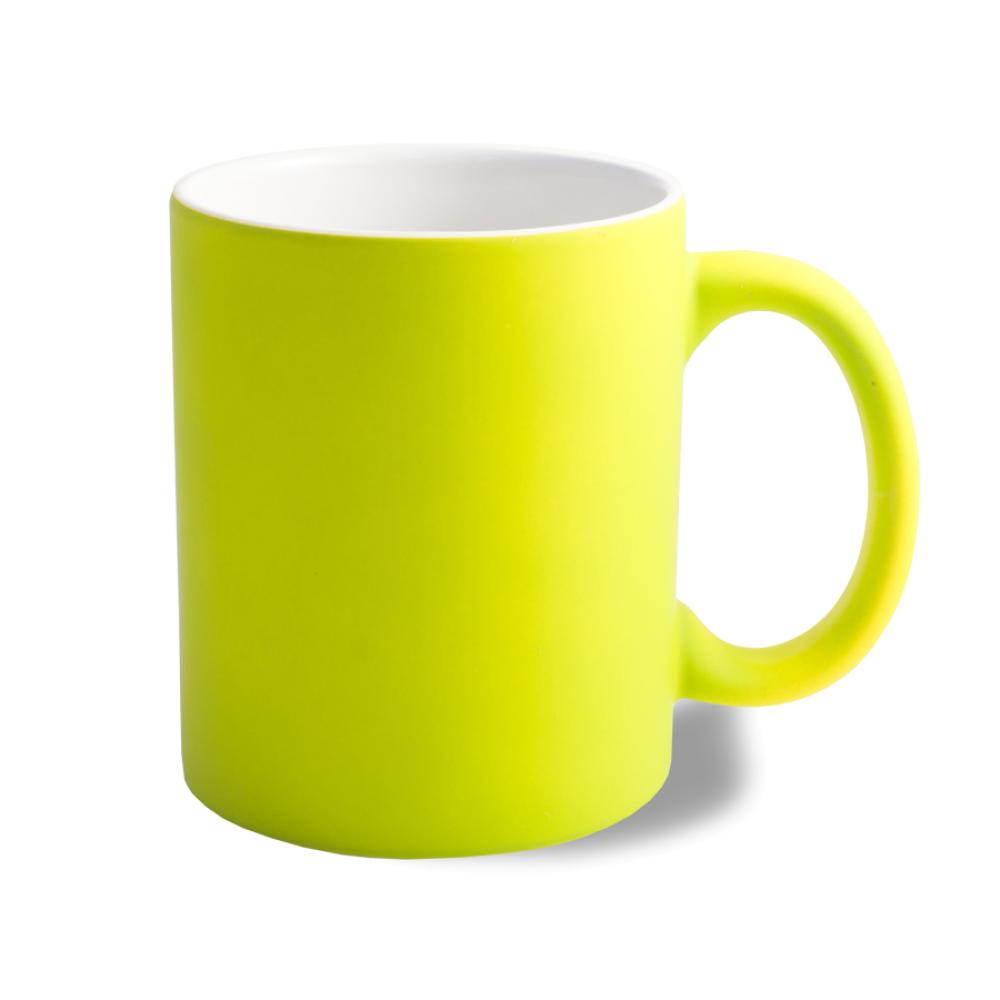 Kubek neonowy gumowany - żółty