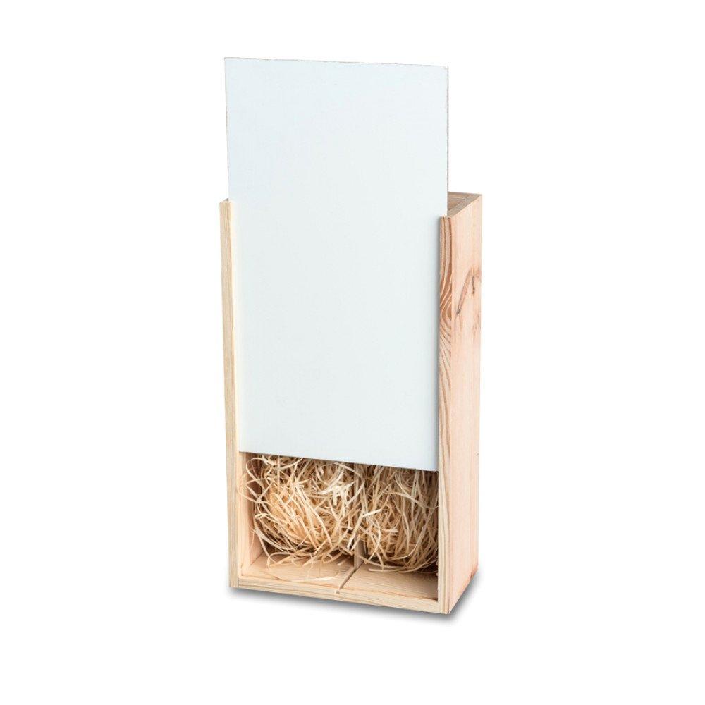 Drewniana skrzyneczka na wino podwójna - drewno naturalne z frontem Hardboard z nadrukiem