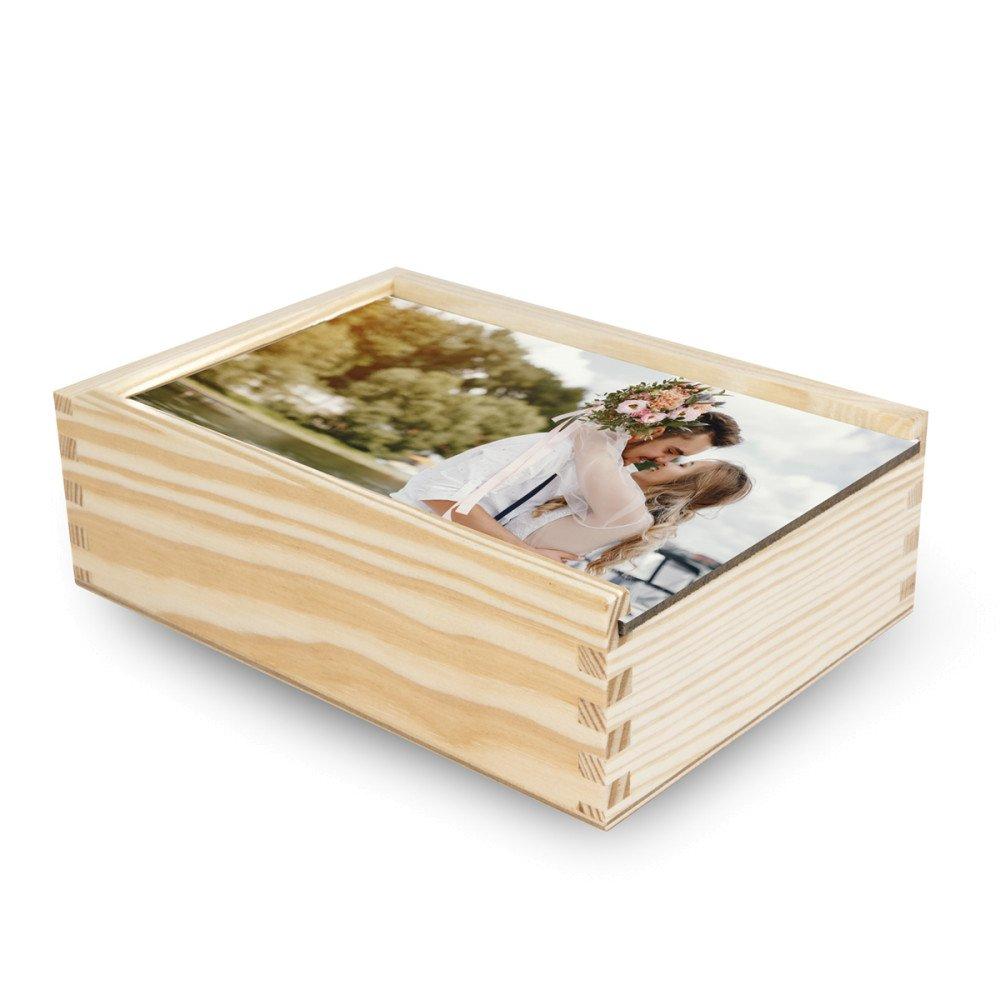 Pudełko drewniane na zdjęcia z frontem HB (z nadrukiem)