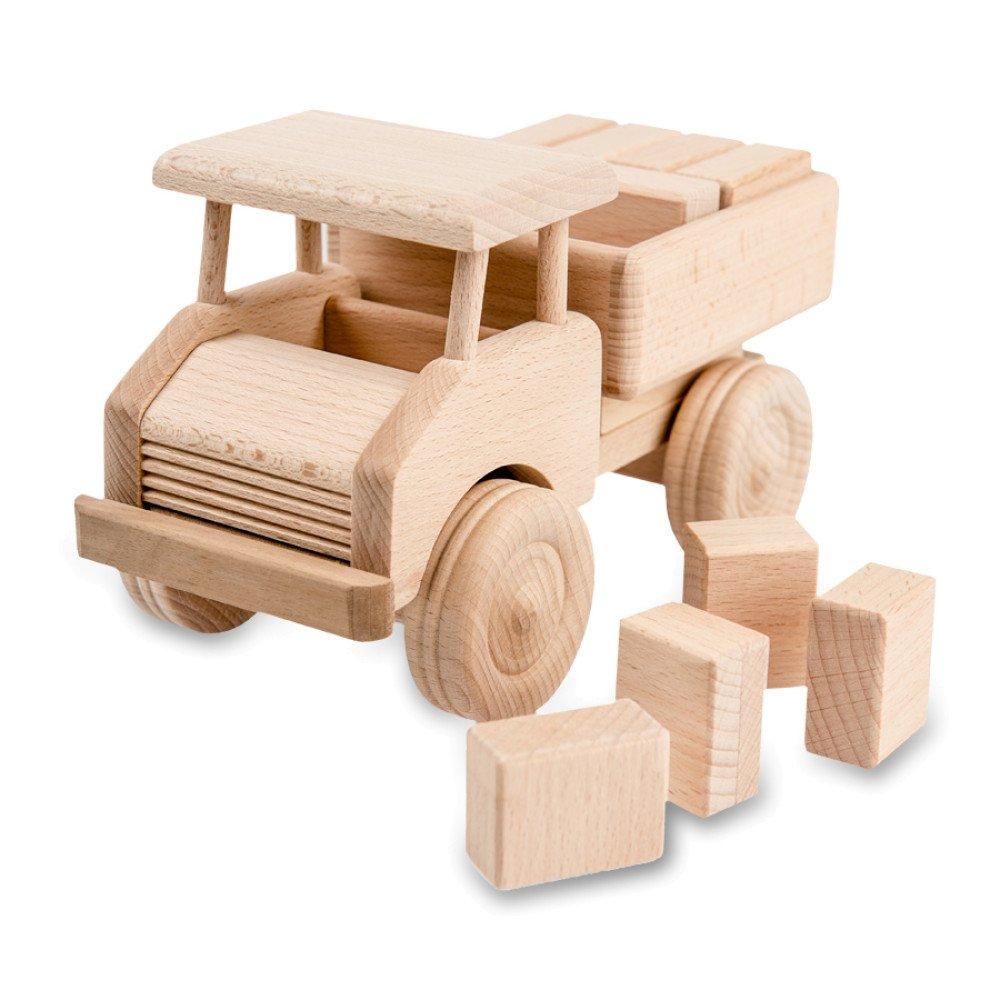 Samochodzik drewniany z klockami