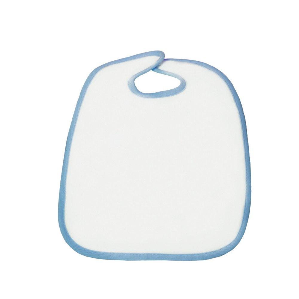 Śliniak poliestrowo-bawełniany 30x35 błękitna lamówka z nadrukiem