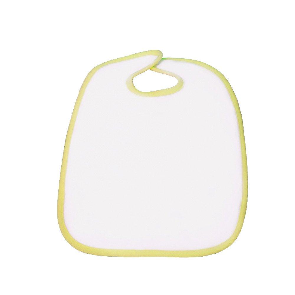 Śliniak poliestrowo-bawełniany 30x35 żółta lamówka z nadrukiem