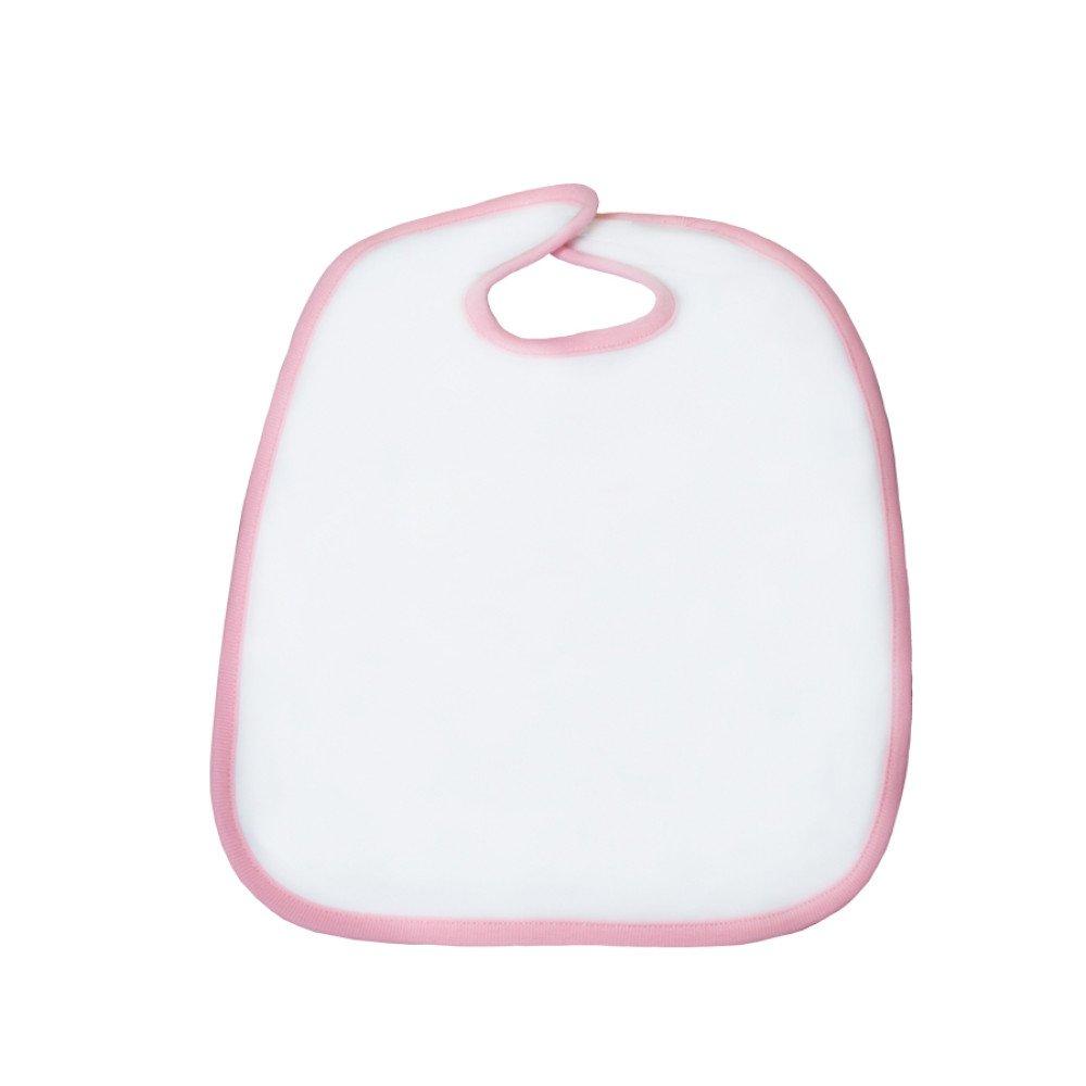 Śliniak poliestrowo-bawełniany 30x35 różowa lamówka z nadrukiem